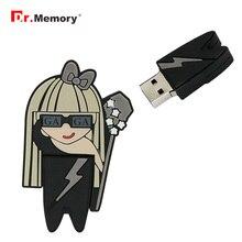 Zarif bayan GaGa Model kalem sürücü 64GB Usb 2.0 Flash sürücü 4GB 8GB 16GB 32GB bellek sopa kişiselleştirilmiş Pendrive yaratıcı hediye