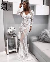 2019 Women Lace See Through Floral v-neck Long Dress Sexy Evening Party Dresses Vestidos floral print see through dress