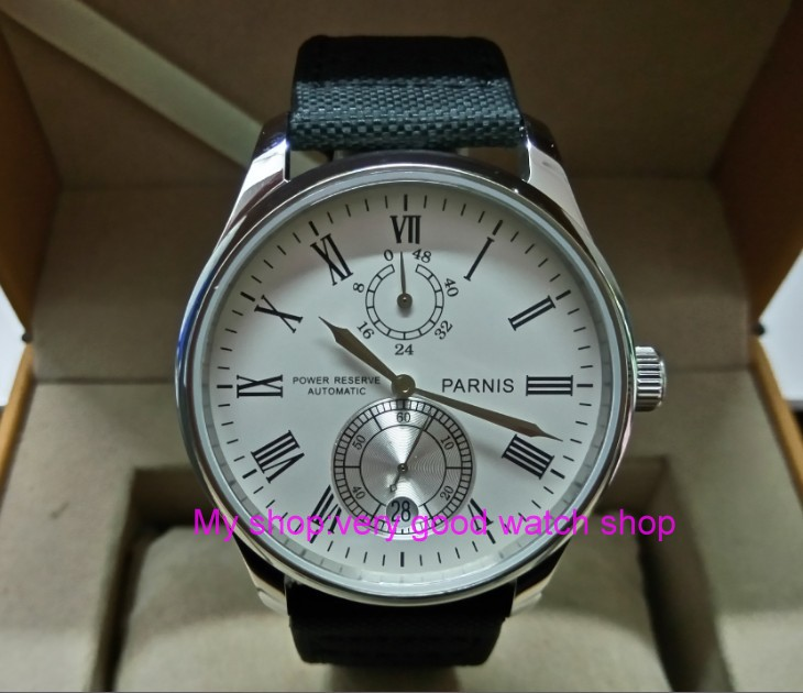 PARNIS 43mm white dial Automatic Self-Wind movement power reserve men's watch Mechanical watches wholesale 156a цена
