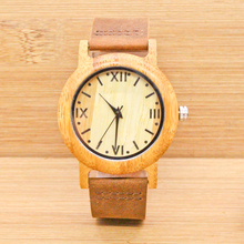 2017 Women Wooden Quartz Watch Ladies Roman numerals dial with Leather Strap Wood Watches Female  Wristwatch Feminino Clock