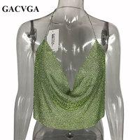 GACVGA 2017 Green Crystal Sexy Halter Camisole Tank Top Adjustable Strap Bustier Metal Crop Top Backless