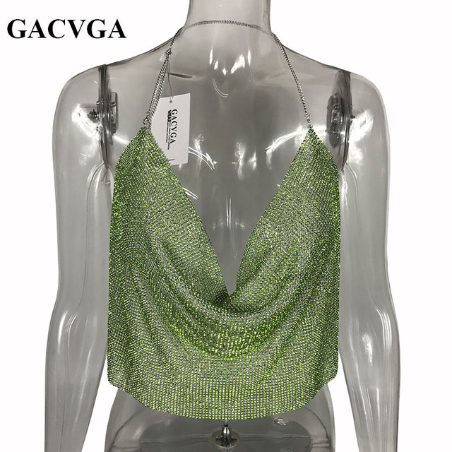 3197685f29f4c GACVGA 2019 Green Crystal Sexy Halter Camisole Tank Top Adjustable Strap  Bustier Metal Crop Top Backless