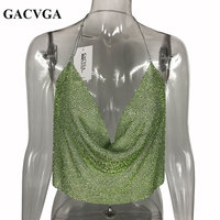 GACVGA 2019 Green Crystal Sexy Halter Camisole Tank Top Adjustable Strap Bustier Metal Crop Top Backless Summer Women Tops