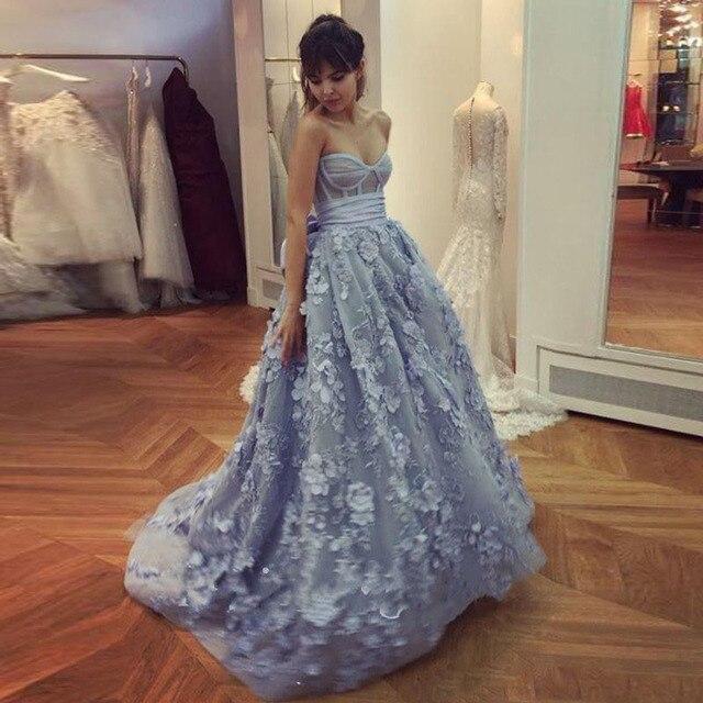 Chic Light Blue Prom Dress 3D Floral Applique Long Evening Dress Custom  Made Women Gowns 2017 Vestido Longo Lace Party Dresses 112067c06306