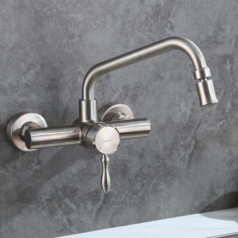 Wall Mounted Brushed Stainless Steel Kitchen Faucet With