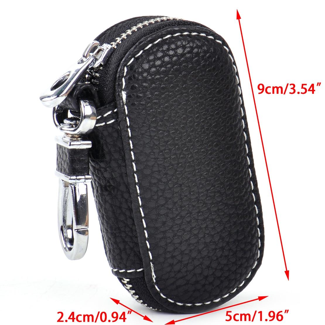 No Logo Universal Car PU Leather Smart Remote Key Holder Bags Cases Fob Black