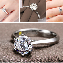 Romantic Classic Round Cubic Zirconia 925 Sterling Silver Finger Rings for Women Wedding Jewelry