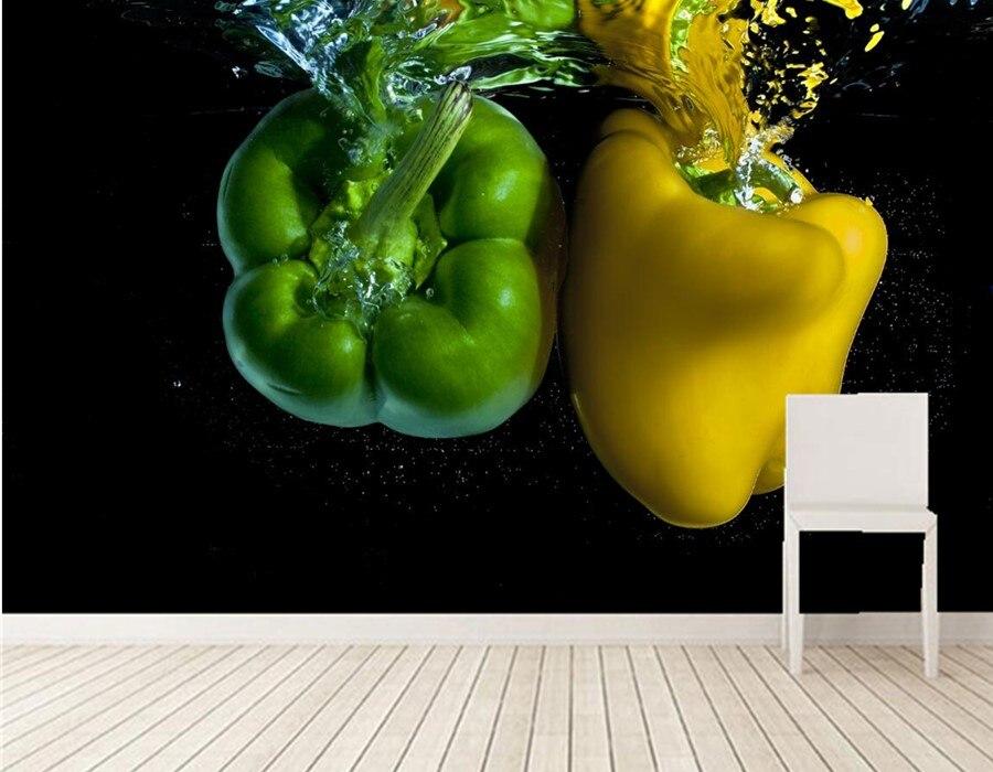 Пользовательские 3D тиснением обои, перец воды два зеленый желтый Еда обои, ресторан гостиной телевизор диван стены кухни 3d росписи
