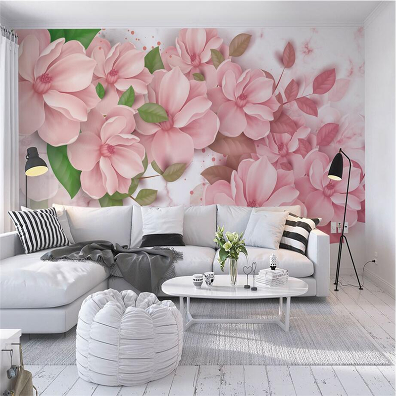 Large Photo Wallpapers for Walls 3D Murals Pink Flowers Wallpapers Green Leaf Wall Papers Living Room Home Decorative Painting shinehome sunflower bloom retro wallpaper for 3d rooms walls wallpapers for 3 d living room home wall paper murals mural roll