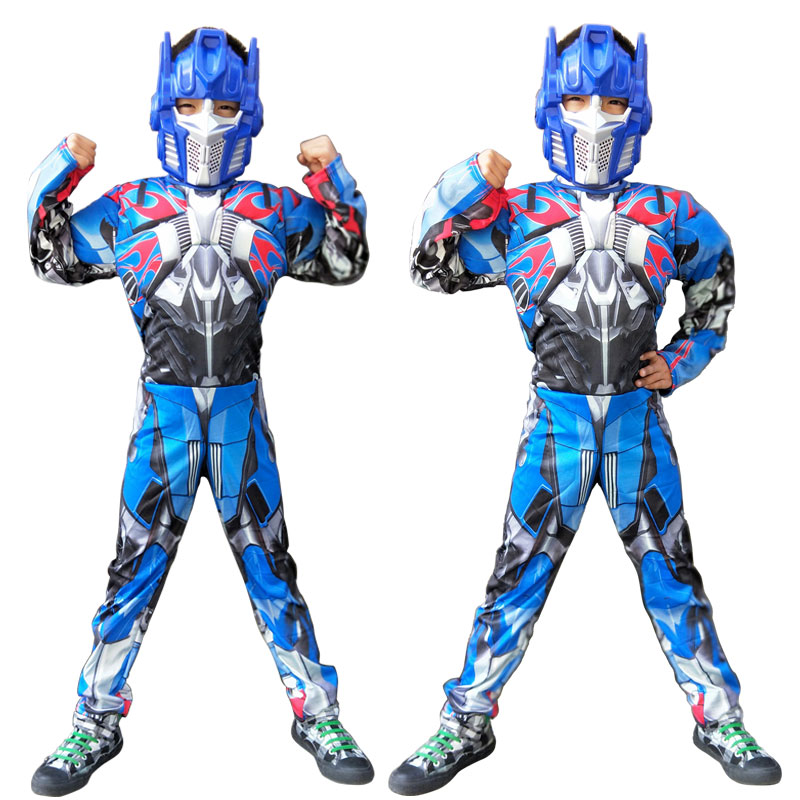 Kids Cosplay Transformers Costume+Mask Muscle Style Bumble Bee Optimus Prime COS