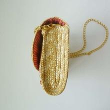 Elegant Straw Bag with Fruit Pattern