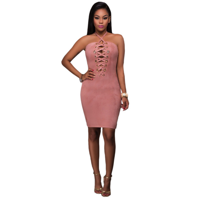 8ca2bee5c55 Women Halter Pink Lace Up Strapless Backless Sexy Pencil Dress Deep V  Sheath Off Shoulder Knee Length Bodycon Club Bandage Dress