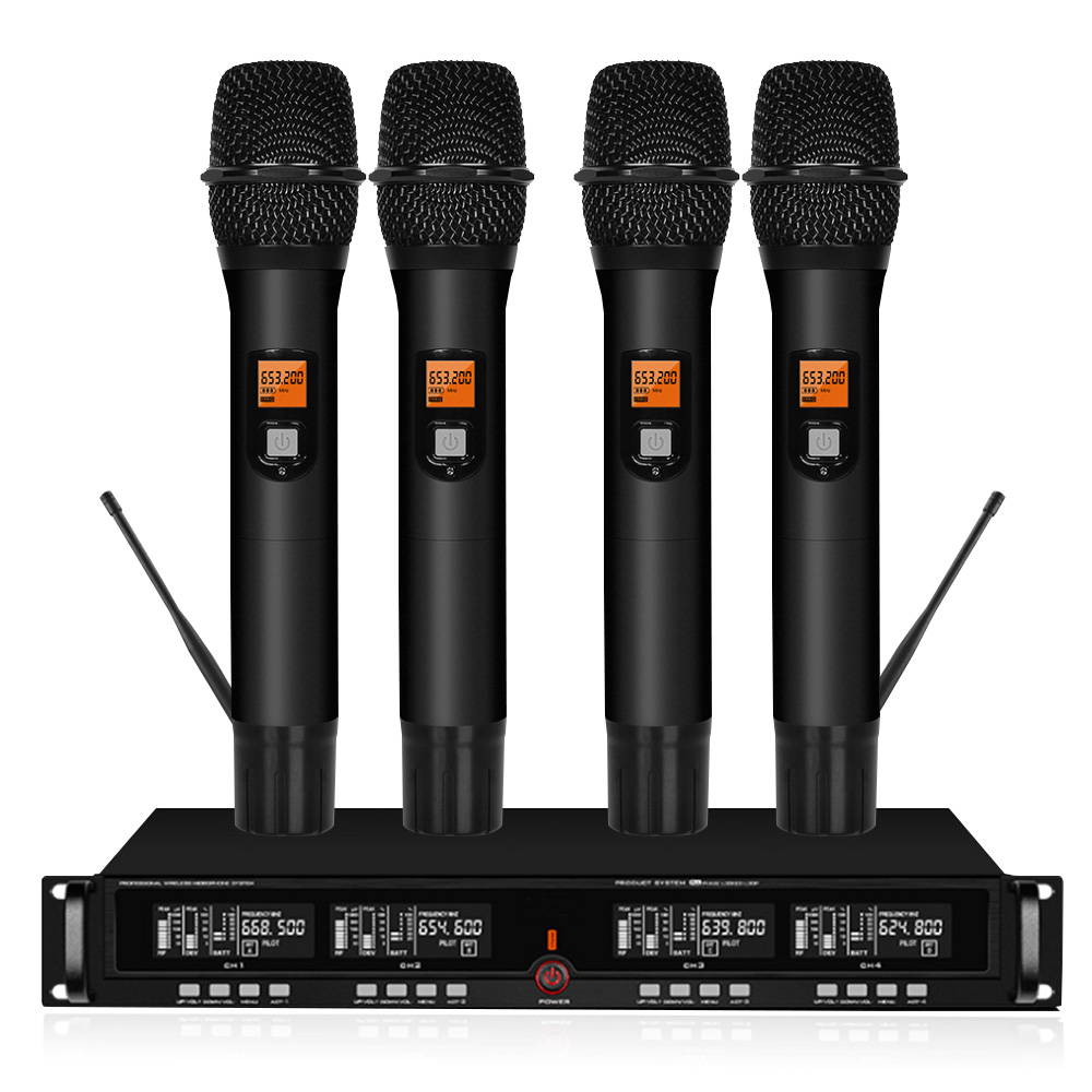 Professional UHF wireless stage microphone System 4 Channel 4 lavalier cordless microphone microphone headset with receiver