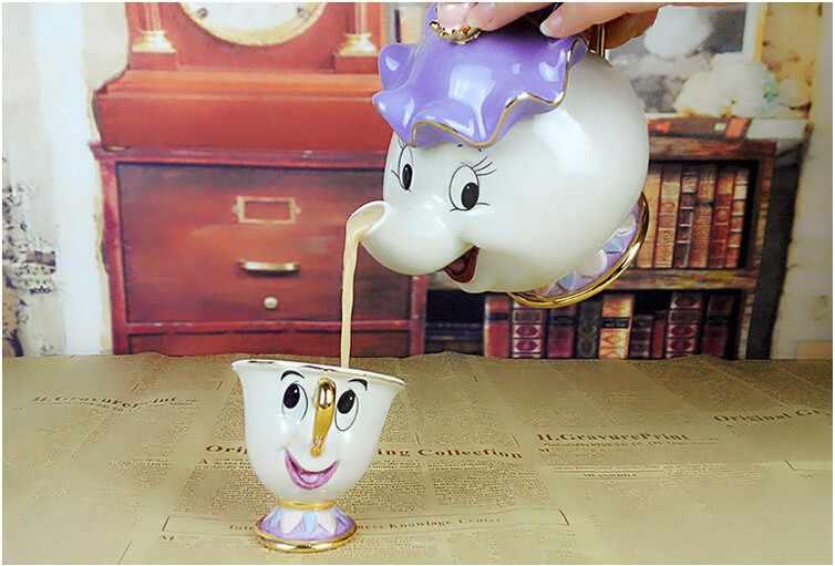 การ์ตูนความงามและ Beast กาน้ำชาแก้ว MRS Potts Chip Cogsworth ชาหม้อชุดถ้วยพอร์ซเลนของขวัญ 18K GOLD -ชุบทาสีเคลือบ