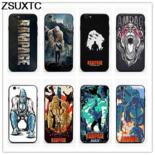 Rampage movie tpu+pc phone case for iphone 5 5s se 6 6s 6p 7 7p 8 8p X