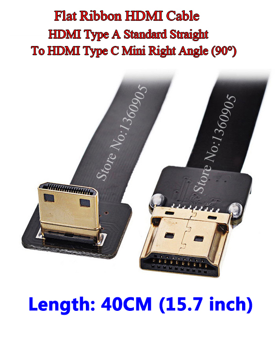 40CM 15.7'' Ultra Thin HDMI Cable Straight Type A to Type C HDMI Mini Right Angle Flat Ribbon Cable Gold Plated Copper ultra thin micro hdmi straight male to micro type d right angle male flat ribbon fpv cable 40cm 50cm 60cm 80cm 100cm optional