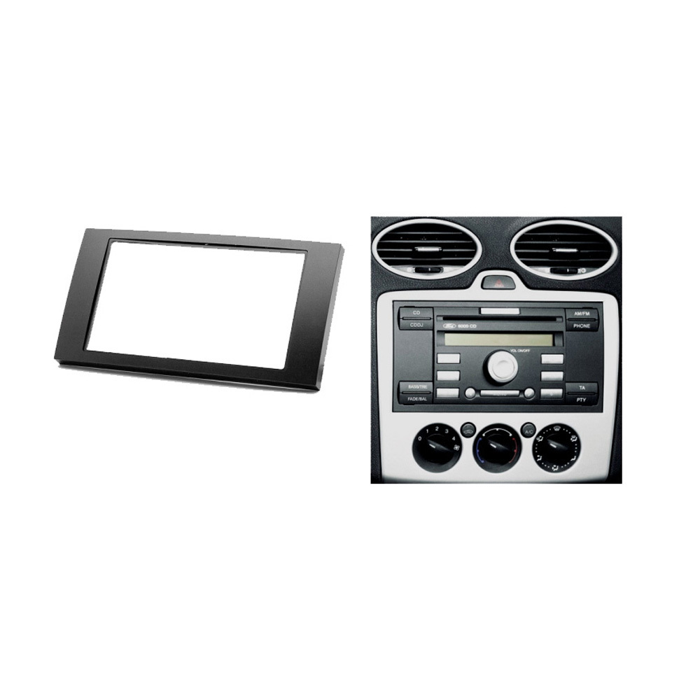 Double din fascia for ford focus ii c max s max fusion transit fiesta iii stereo panel dash mount install trim kit refit frame