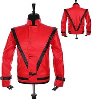 MJ Cosplay Leather Coat Michael Jackson Costume Leather Thriller Red Jacket And Free Billie Jean Glove