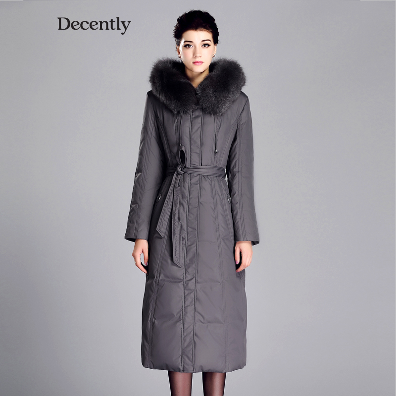DECENTLY 2015 New arrival X Long Winter jackets Down Woman Coat Fox Fur Mother Parka Brand