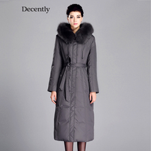 DECENTLY 2015 New arrival X-Long Winter jackets Down  Woman Coat Fox Fur Mother Parka Brand Clothes  2183-1