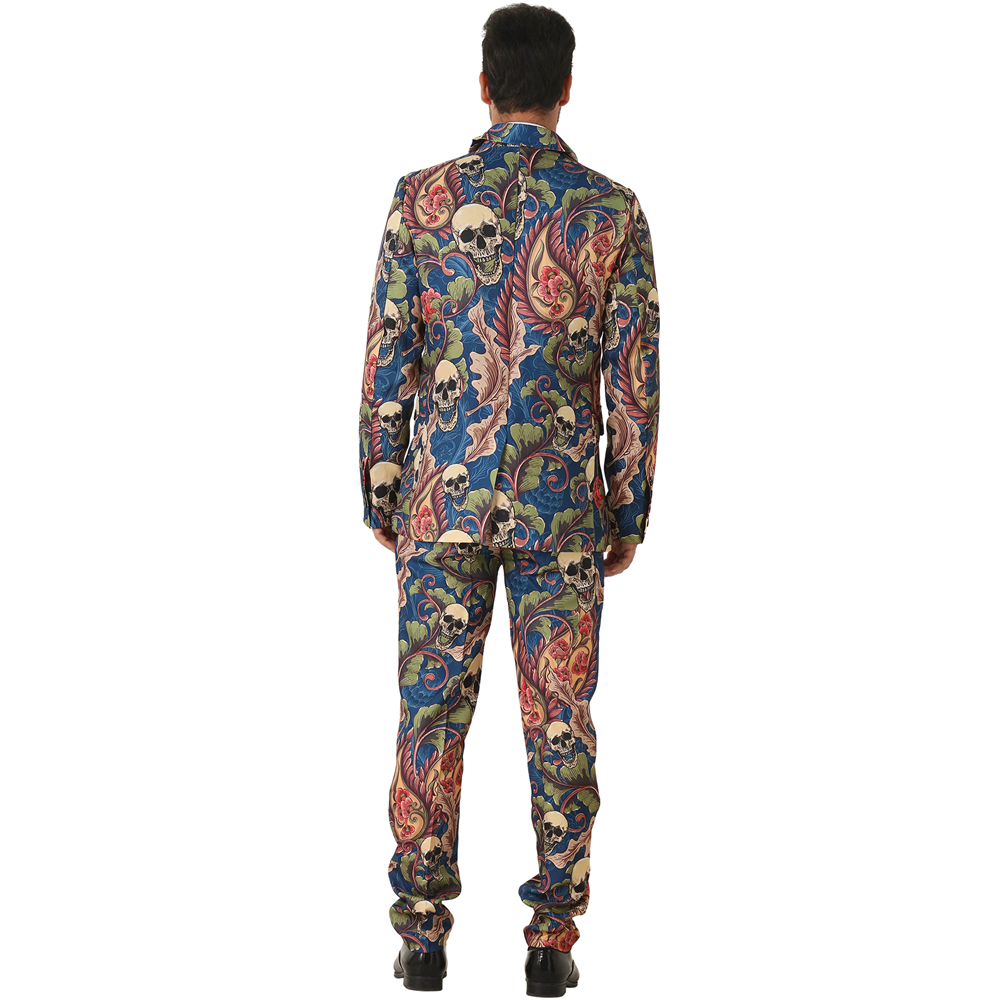 Halloween Costumes Scary Men.Us 46 29 32 Off Eraspooky 3d Print Scary Skull Cosplay Men Halloween Costume Adults Gothic Floral Skeleton Vintage Suits Male Carnival Blazer In
