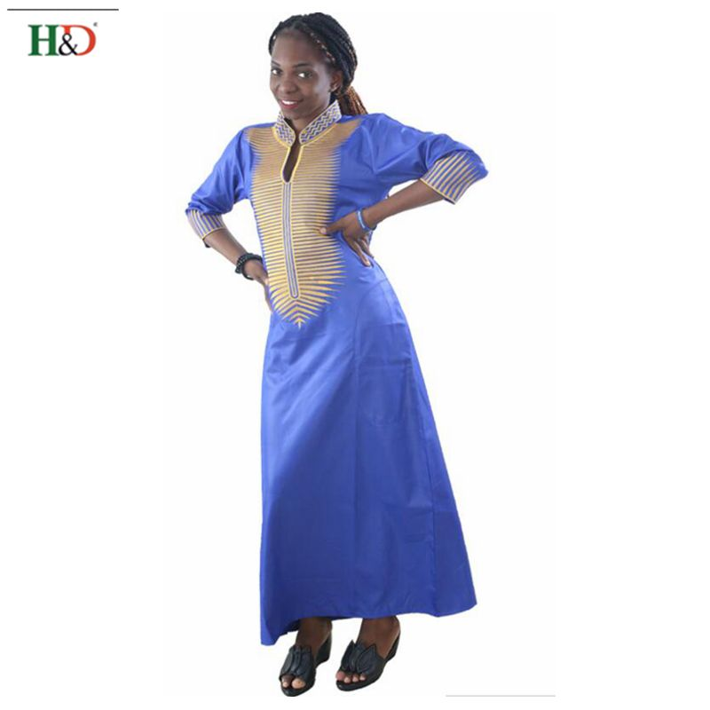 ٩(^‿^)۶H & D más tamaño africano mujeres vestidos bordado Bazin ...