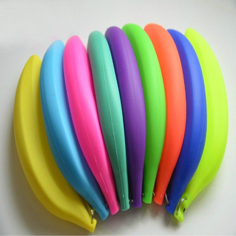 Colorful Banana Coin Purse Pencil Case Portable Novelty Cute Silicone Pen Bag Unisex Wallet Pouch Unistyle mint student navy canvas pen pencil case coin purse pouch bag jun01