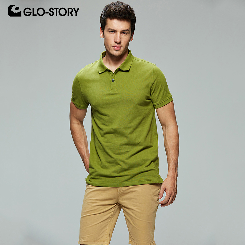 GLO-STORY Shipped From European Men's 2019 Casual Multicolor   Polo   Shirt Knitted Cotton Short Sleeve Male   Polo   Shirt MPO-7126