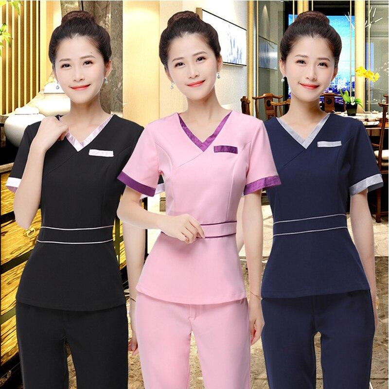 Uniformes d'esthéticienne de mode des femmes ajustement mince Salon de beauté Spa tunique costume robe d'allaitement col en V manches courtes blocage de couleur