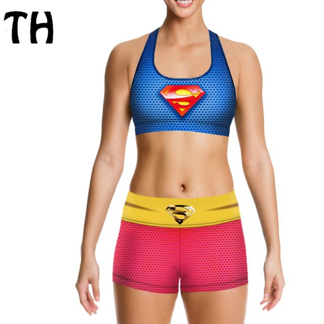 2016 Superman Imprimir Push Up Bra Com PAD + Calções Mulheres Roupas Tops de Treino Treino Crossfit Set #160575