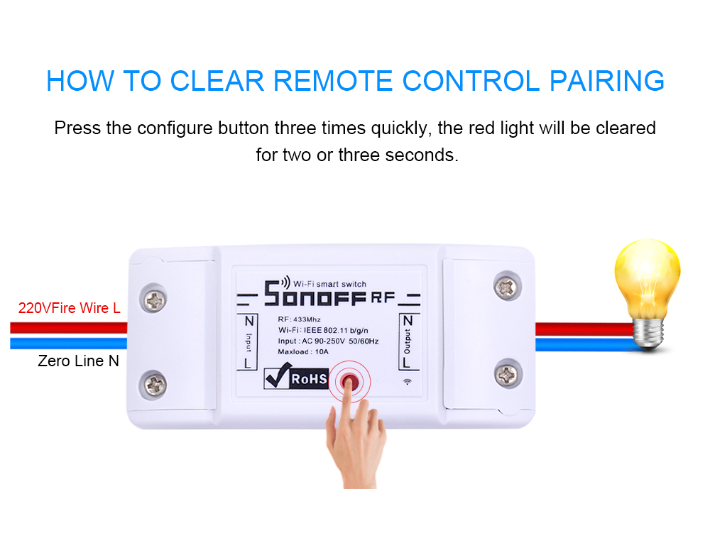 Sonoff RF WiFi Smart Home Switch 433Mhz RF Receiver with Remote Control 10A