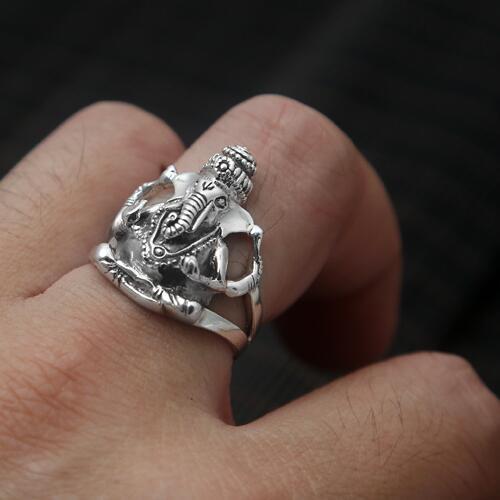 100% 925 bague en argent Ganesh Thai argent Ganesh richesse bague bouddha Vintage bague en argent Sterling bonne chance bijoux