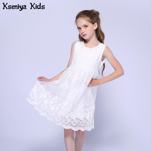 Kseniya Kids Summer White Little Girl Wedding Lace Dress Flower Girls Dresses For Party And Wedding Prom Dresses Ball Gowns
