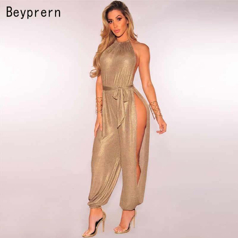 Beypren Sexy oro metálico hendidura pierna Harem monos elegante oro sin mangas Halter Keyhole monos ropa de Club