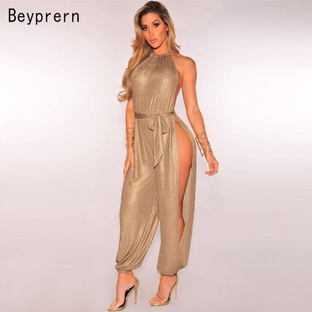 2f0d11b501 Beyprern Sexy Gold Metallic Slit Leg Harem Jumpsuits Rompers Stylish Gold  Sleeveless Halter Keyhole Jumpsuits Overalls Clubwear