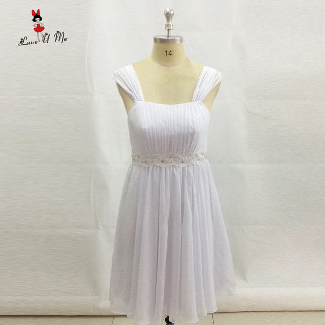 Vestido Madrinha Pure White Short Bridesmaid Dresses Cap Sleeve Lace ...