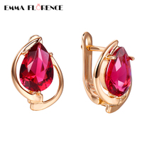 Brand Luxury Blood Ruby Clip Earrings Pigeon Red Rhinstone Earring 18K Rose Gold Plated Women Earrings