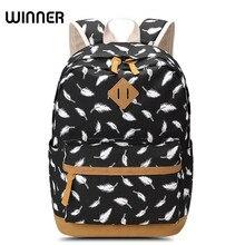 Победитель Брендовые женские Перо печати рюкзак школьный портфель для подростков ноутбук сумка рюкзак Для женщин рюкзак
