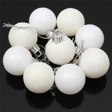 HOT SALE 24Pcs Chic Christmas Baubles Tree Plain Glitter XMAS Ornament Ball Decoration White Christmas Tress Decorations Ball