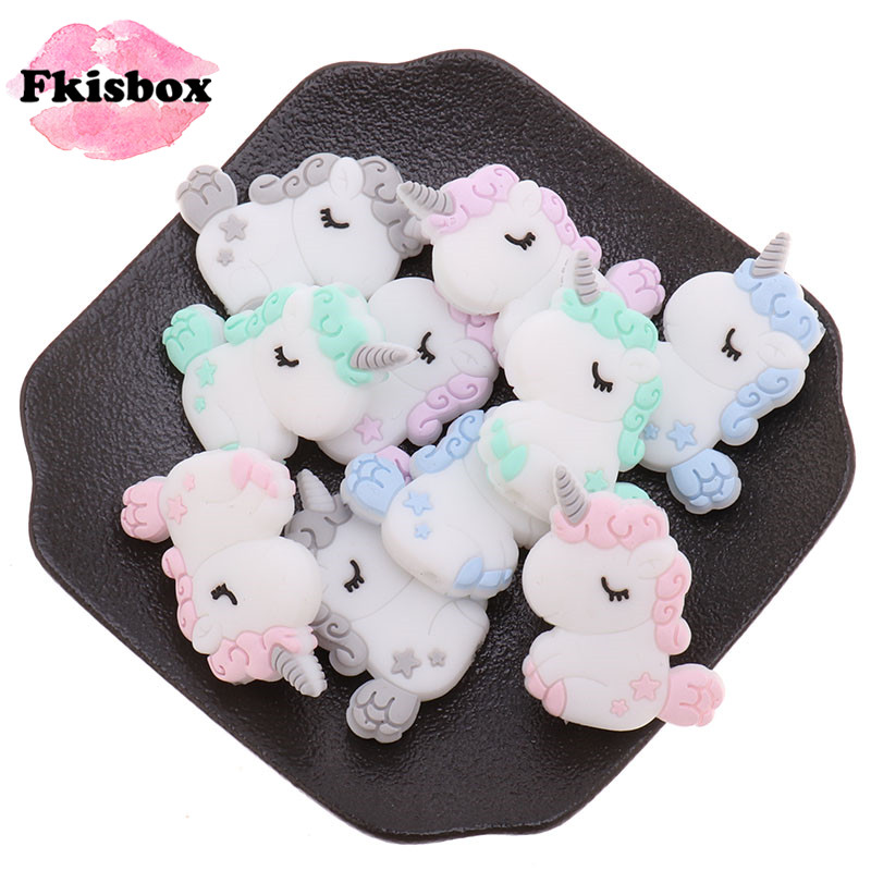 20pc Unicorn Silicone Animal Teether Beads Bpa Free Baby Teething Necklace Diy Chewable Denticion Jewelry Nursing Pacifier Chain
