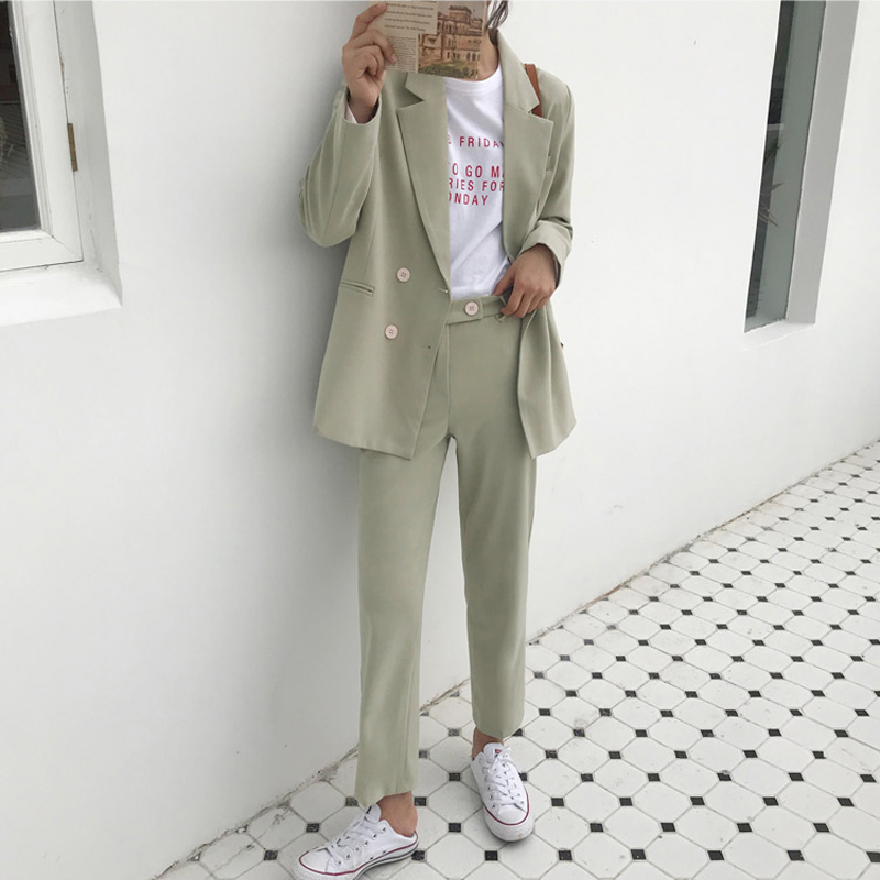BGTEEVER Vintage Light Green Women Suits Double Breasted Female Pant Suits Blazer Jacket Pencil Pant Casual