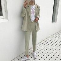 BGTEEVER Vintage Light Green Women Suits Double Breasted Female Pant Suits Blazer Jacket & Pencil Pant Casual 2 Pieces set femme
