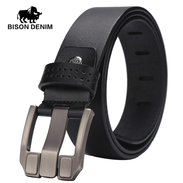 BISON DENIM High Quality100% belts men black / brown Cowboy Genuine Leather belt wedding belts for men gift  W71018