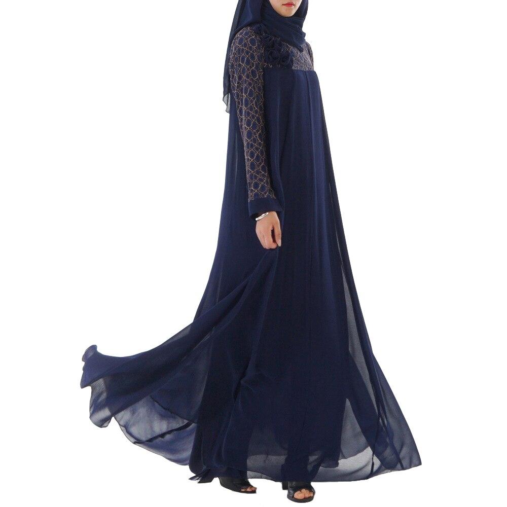 Babalet femmes musulmane Double couche en mousseline de soie grande balançoire longue robe islamique arabe dentelle Robes haut de gamme robe lâche Slim Ramadan