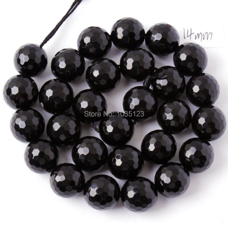 Free Shipping 6.8.10.12.14.16.18mm Faceted Round Shape Black Agates Onyx Gems Loose Beads Strand 15