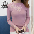 2016 Autumn Winter Knitted shirt New Korean fashion Hollow out diamond Women Sweater shirt Patchwork Sexy lace sweater Pullover