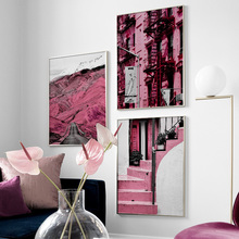 Pink Mountain Road Building Stairs Quotes Wall Art Canvas Painting Nordic Posters And Prints Pictures For Living Room Decor