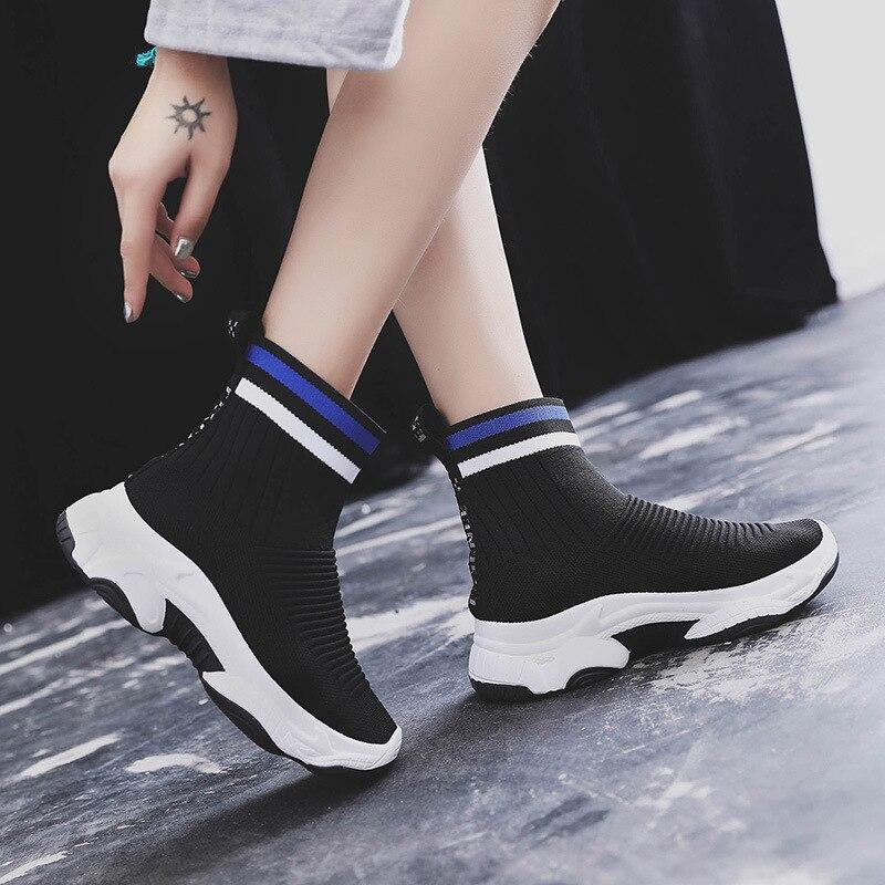 rojo Hip 40 Moda Negro Plataforma Hop Femenina Azul púrpura Mujer Botines De Señora Otoño 2018 Botas Calcetín Zapatos AqwCTT