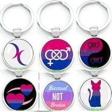 Флаг бисексуал Топ символ брелок для ключей кольцо для ключей кулон гордость два сердца полумесяц логотип для лучших друзей навсегда брело...