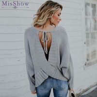 2018 winter autumn long sleeve loose knitted woman open back backless women gray sweaters pullover with bowtie Tops Pull Femme